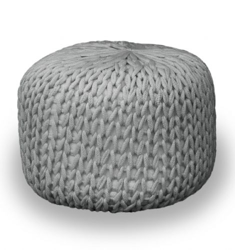 SILVER FOOT STOOL MOROCCAN CUBE OTTOMAN HANDMADE CHUNKY 100% COTTON KNITTED POUFFE